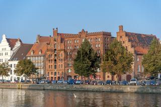 Historisches Stadtbild an der Untertrave in Lübeck