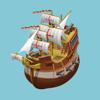 Galleon sailing old ship axonometric vector illustration