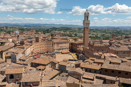 Panoramic view of Siena city with Piazza del Campo and the Torre del Mangia