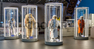 Moscow, Russia - November 28, 2018: Russian astronaut spacesuits in Moscow space museum that was specially developed for space vehicle missions