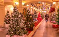 Moscow, Russia - November 27, 2019: Christmas trees with symbols of various companies in GUM. New Year interiors of GUM State Department Store on Red square. GUM is a popular place in Moscow center