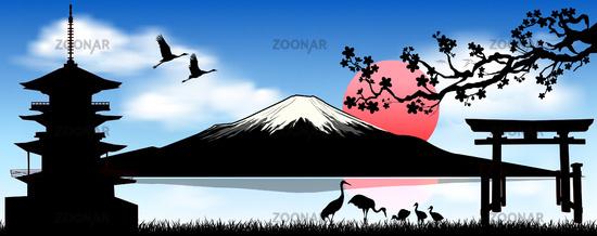 Mount Fuji, the morning sunrise