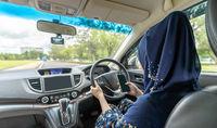 Muslim girl driving