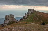 Rocky ledges on Demerdzhi mountain in Crimea