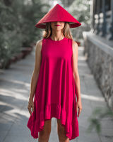 Fashion portrait of a beautiful woman in red hat