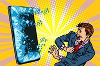 scared man businessman and smartphone Internet online