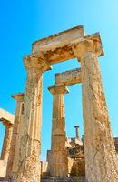 Columns of Temple of Aphaea in Aegina Island