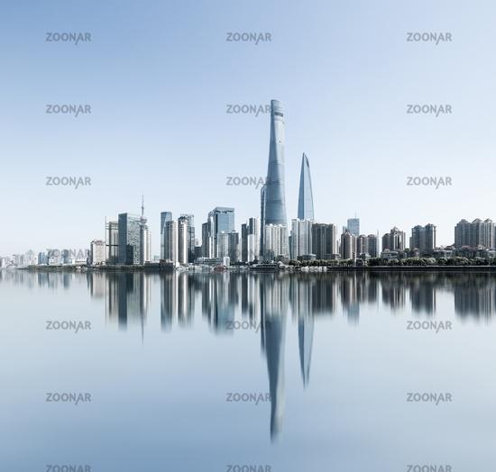 shanghai skyline and reflection