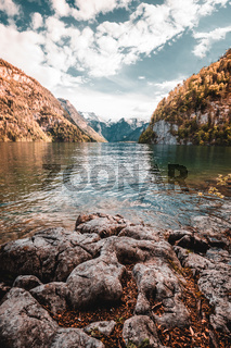 Idyllic alpine lake koenigsee in Berchtesgaden, Bavaria, Germany