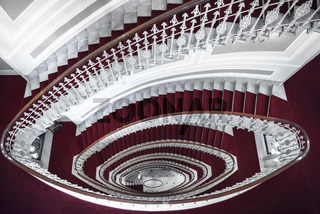 Spiral staircase in red and white