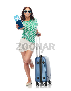 teenage girl with travel bag and air ticket