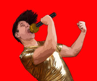 The excited singer with a microphone on red background. Crazy emotional man in golden shirt sing to mic.