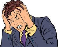 headache man. stress or illness