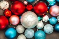 New year and christmas decorations on dark background closeup