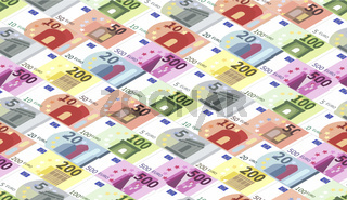 Bright different euro banknotes in a rows, seamless pattern in isometric projection