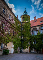 HRUBA SKALA, CZECH REPUBLIC - SEPTEMBER 18, 2012: The interior courtyard of Hruba Skala Castle