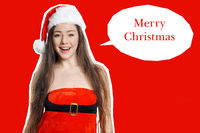 miss santa claus with merry christmas greeting