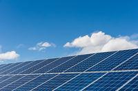 solar panels closeup against a sunny sky