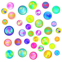 Large set of glossy colorful marble balls on white