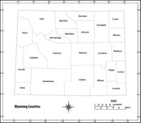 Wyoming state outline administrative and political map in black and white