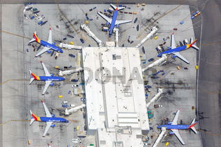 Southwest Airlines Boeing 737 airplanes Los Angeles airport aerial view