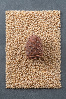 Cone on the background of peeled pine nuts.