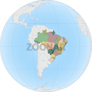 South America with Brazil on the Globe