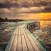 Sunrise at Penang. Yeoh jetty on the foreground , Malaysia