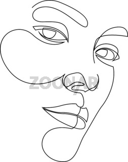 Minimal and abstract continuous line drawing of portrait of a beautiful woman face. Fashion beauty model on a white background. The concept of skin beauty care for young female models. Vector