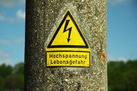 Warnschild Hochspannung