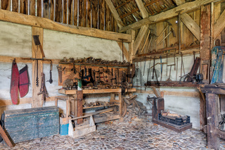 Dutch rural open-air museum with carpenter workplace and old tools