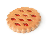 Jam filled cookie sandwich isolated