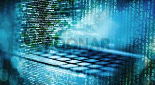 Programmiercode mit Computer und Matrix