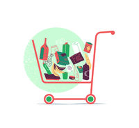 Shopping Cart with Many Products Inside the Basket