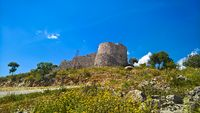 Landscape with the Lekuresi Castle and military bunkers, Saranda, Albania