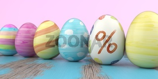 Colored Easter Eggs Percent Wooden Table