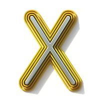 Yellow outlined font letter X 3D
