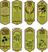 Set of fresh olive oil labels. Design element for poster