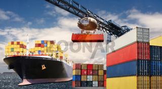 Container Transport mit dem Schiff