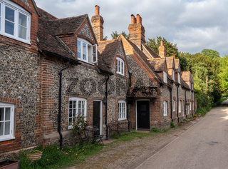 Pretty street of brick houses in village of Hambleden