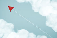 Paper airplane flying on blue sky and cloud . Business leadership concept .