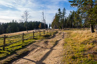 Hiking trail in mountains with wooden fence along the path