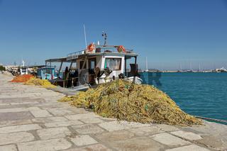 Fishing Boats Docking in Zakynthos Island, Ionian Sea, Greece, Europe.