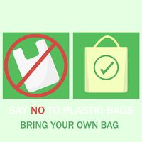 Vector illustration say no plastic bags support for nature shopping