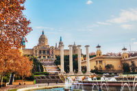 Montjuic hill with people on a sunny day