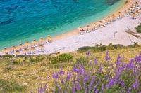 Island of Krk beach at Stara Baska aerial view