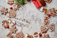 Different shapes of Christmas gingerbread cookies assorted in circle