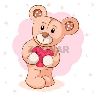 Teddy bear with pink heart. For printing on T-shirts.