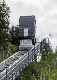 Aufzug zum Schanzenturm der Skisprung-Arena, Oberstdorf, Allgäu