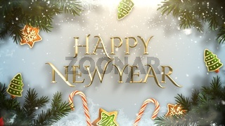 Happy New Year text, green tree branches and toys